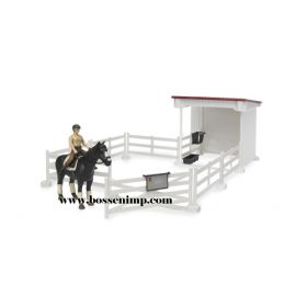 1/16 Horse Shelter with Pasture Fence Horse and rider brown
