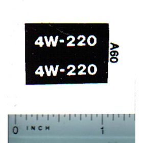 Decal 1/16 Allis Chalmers 4W-220 Model Number (white on black