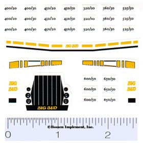 Decal 1/64 Big Bud 400/20 - 525/50 Set (Yellow)