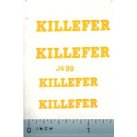 Decal 1/16 John Deere Killefer  (yellow) Small & Large