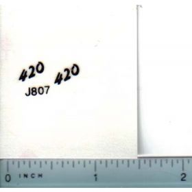 Decal 1/16 John Deere 420 Model Numbers