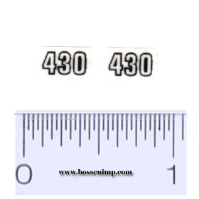 Decal 1/16 John Deere 430 Model Numbers Black on Clear (pair)