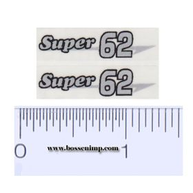 Decal 1/16 Massey Harris Combine Super 62 Silver, Black Outline (pair)