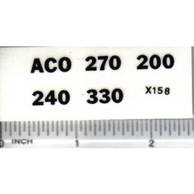 Decal 1/16 ACO Model Numbers Set