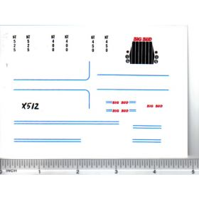 Decal 1/64 Big Bud KT Set (Blue Stripes)