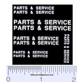 Decal 1/16 Parts & Service Set - White