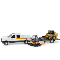 1/32 John Deere Dealer Pickup JD Skid Ldr, Mini Hoe & Trailer Set