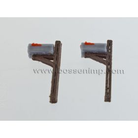 1/64 Mailboxes Rural Wooden Post Style Set of 2