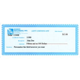 $15.00 Gift Certificate