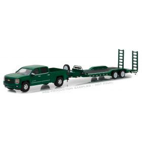1/64 Chevrolet Pickup Silverado 2015 with Flatbed Car Hauler Trailer