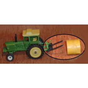 1/64 Bale Fork Single Black with hay or straw bale