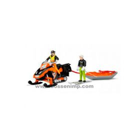 1/16 Snowmobile w/driver and rescue sled