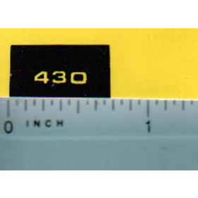 Decal 1/16 John Deere L&G 430 Model Numbers