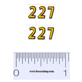 Decal 1/08 John Deere Corn Picker 227 Model Numbers - Yellow, Black Outline