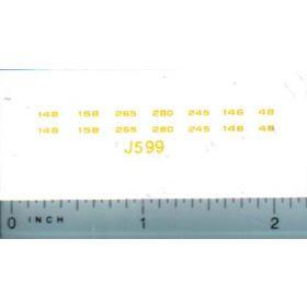 Decal 1/64 John Deere Loader 48 - 280 Model Number Set