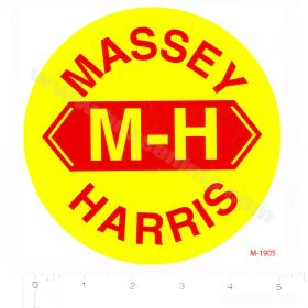 Decal Massey Haris Red on Yellow 5 inch