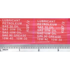 Decal 1/16 Lubricant Petroleum - White