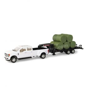 1/32 Ford F-350 Dually Pickup with Trailer & Round Bales