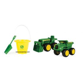 6 inch John Deere loader tractor, dump truck & bucket with shovel