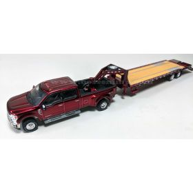 1/64 Ford Pickup F-350 King Ranch 2015 dually with 5th Wheel Flatbed Trailer Ruby Red