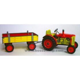 1/25 Zetor Tractor & Wagon Set Tin Wind Up