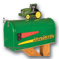 Mailbox Rural Style John Deere with John Deere 9400T Tractor Topper