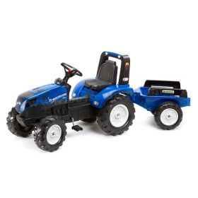 New Holland T8 Plastic Pedal Tractor with Trailer