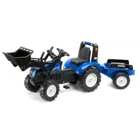New Holland T8 Plastic Pedal Tractor with Front Loader &Trailer