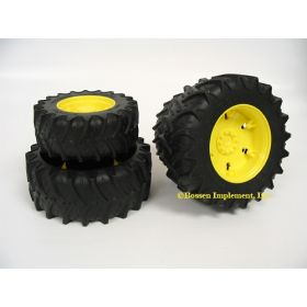 1/16 Accessory Dual Wheels yellow for 3000 Series Bruder Tractors