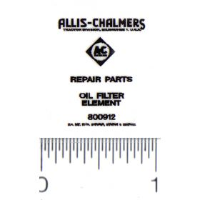 Decal Allis Chamlers Oil Filter for Pedal Tractor