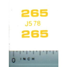 Decal 1/16 John Deere Loader 265 Model Numbers