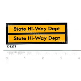 Decal 1/16 State Hi-Way Dept - Yellow, Black
