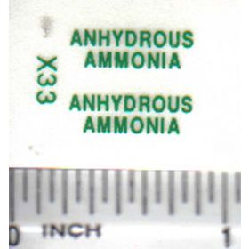 Decal 1/64 Anhydrous Ammonia - Green on Clear