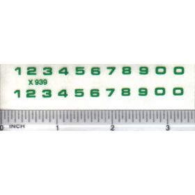 Decal Number Set - Green 3/32 x 1/8