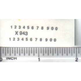 Decal Number Set - Silver 1/16in. x 1/32in.