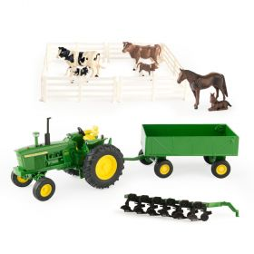 1/32 John Deere 4020 WF, wagon, Plow and Animal Set