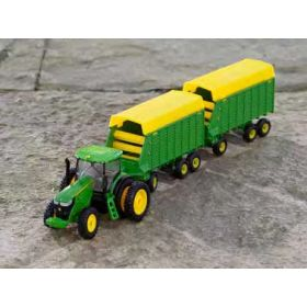 1/64 John Deere 7290R MFD with duals & 2 Forage Wagons