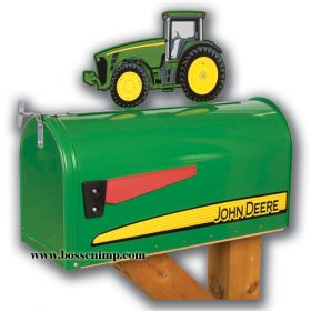 Mailbox Rural style John Deere with John Deere 8000 Tractor Topper